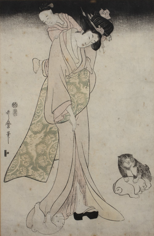 Kitagawa Utamaro II (1789-1830) 'Mother and child' Japanese woodblock, 37cm x 24cm Condition: foxing