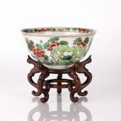 Wucai bowl Chinese, Chongzhen period (1628-1644) the exterior decorated with bright blooming flowers
