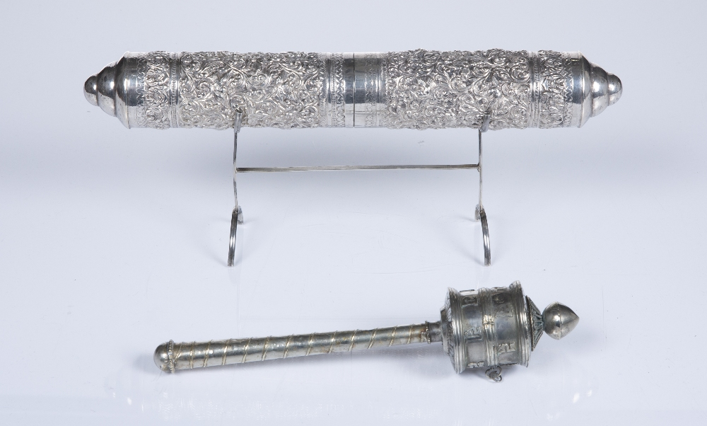 White metal parchment holder Burma/Nepal of embossed foliate form, on a later stand, 27cm and - Image 2 of 4