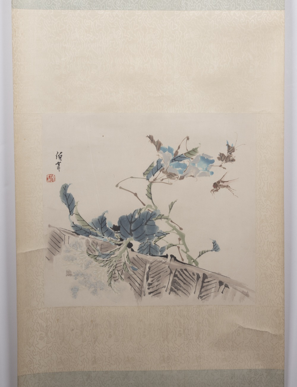 Attributed to Tsun Lin (1913-1982) Chinese Scroll painting, dragon fly and leaves, watercolour and