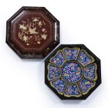 Canton enamel sweetmeat set Chinese, 20th Century contained in a lacquer box comprising of a