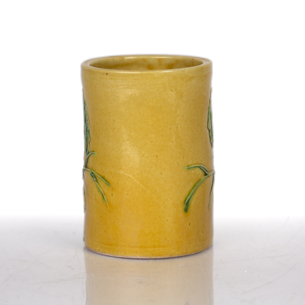 Yellow glazed brushpot Chinese, 19th Century the exterior with moulded decoration depicting - Image 2 of 4