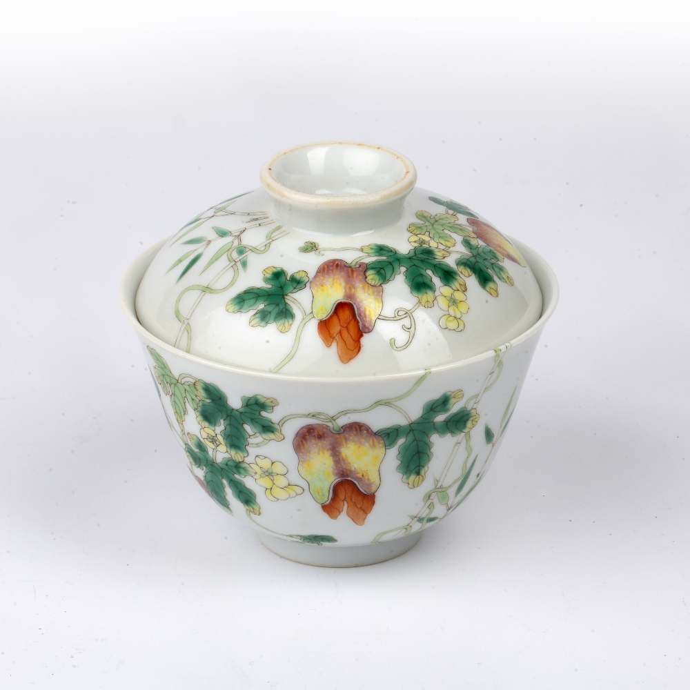Porcelain bowl and cover Chinese painted with fruit, butterflies and flowers, with Jiaqing