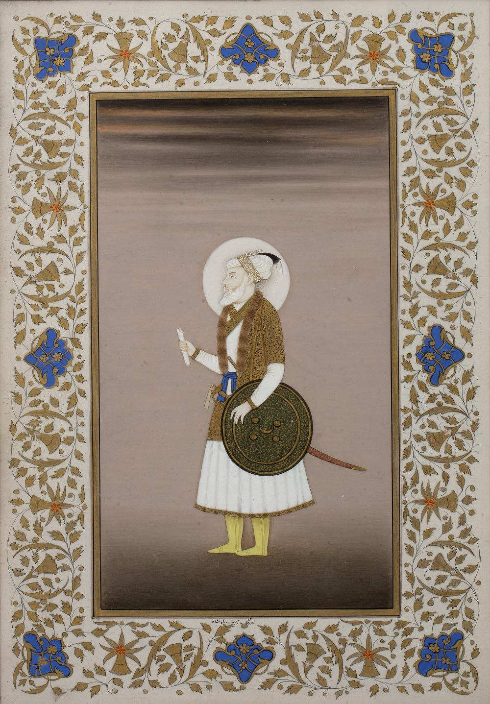 Ustad Haji Muhammad Sharif (1889-1978) 'Aurangzeb, Mughal Emperor of India' painting on paper,