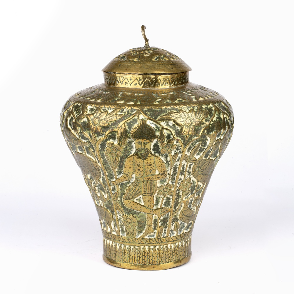 Qajar brass pot and cover Iran embossed with figures and animals and crescent finial, 30cm high - Image 3 of 5