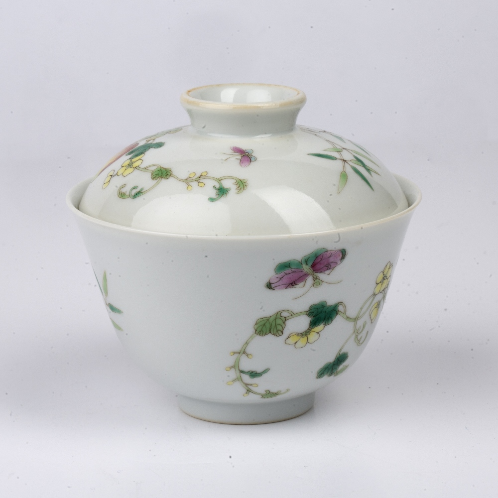 Porcelain bowl and cover Chinese painted with fruit, butterflies and flowers, with Jiaqing - Image 3 of 4