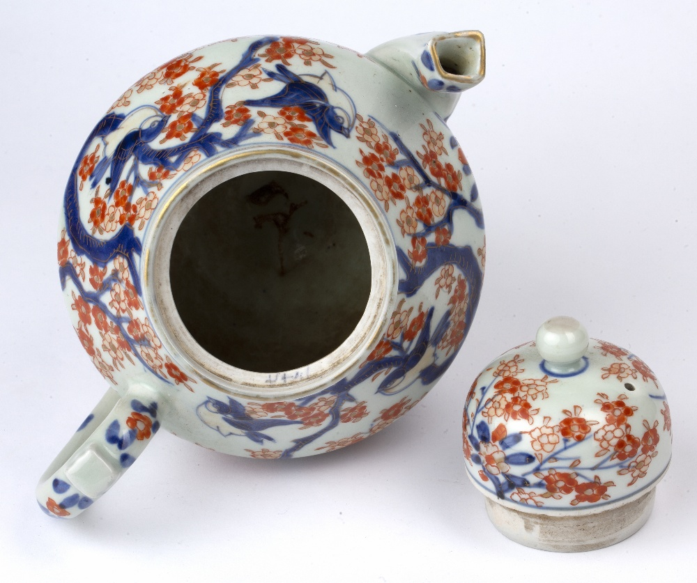 Imari teapot Japanese, 19th Century of ovoid form, painted with blossom and birds, 23cm high - Image 4 of 4