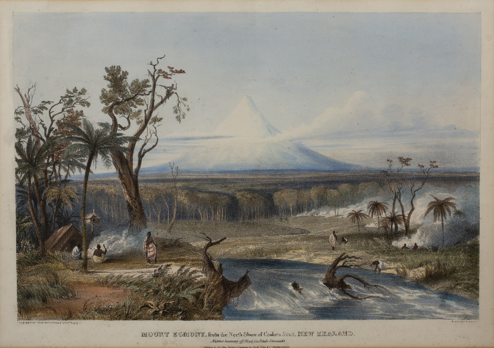 After Charles Heaphy (1820-1881) Mount Egmont, coloured lithograph pub'd by T Allom, 43.5cmx 60cm