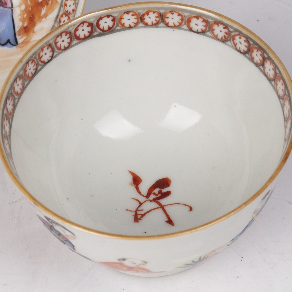 Matched teabowl and saucer Chinese, 18th Century decorated with three women and a child in a garden, - Image 2 of 3