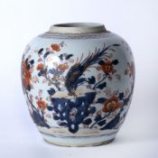 Imari porcelain ginger jar Chinese, late 18th Century decorated with a phoenix standing on a rocky