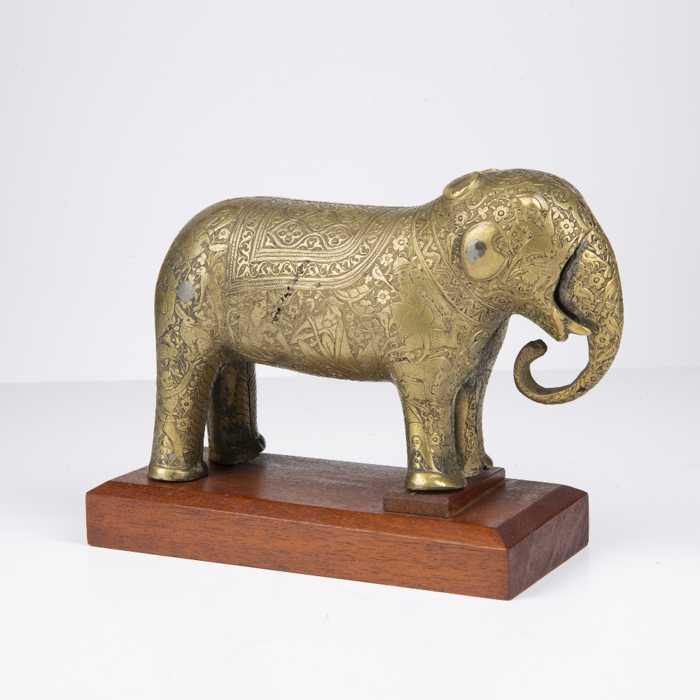 Safavid style bronze model of an elephant Iran, 18th Century engraved to the body with an hunting - Image 3 of 5