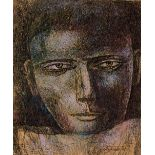 Ganesh Pyne (1937 - 2013) Head of a man, pastel and ink on paper, signed lower right, framed and