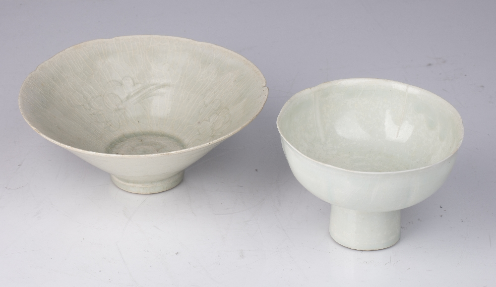 Two Qingbai porcelain wear Chinese, probably Yuan comprising of a conical shaped bowl decorated with - Image 2 of 4