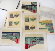 Cloth bound album of designs Chinese loose leaf depicting architectural features including
