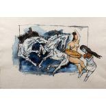 Maqbool Fida Husain (1915-2011) Untitled, Horses, 2003, watercolour on paper, framed and glazed,