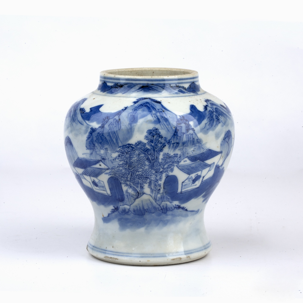 Blue and white landscape vase Chinese, 19th Century painted to the exterior with a river landscape