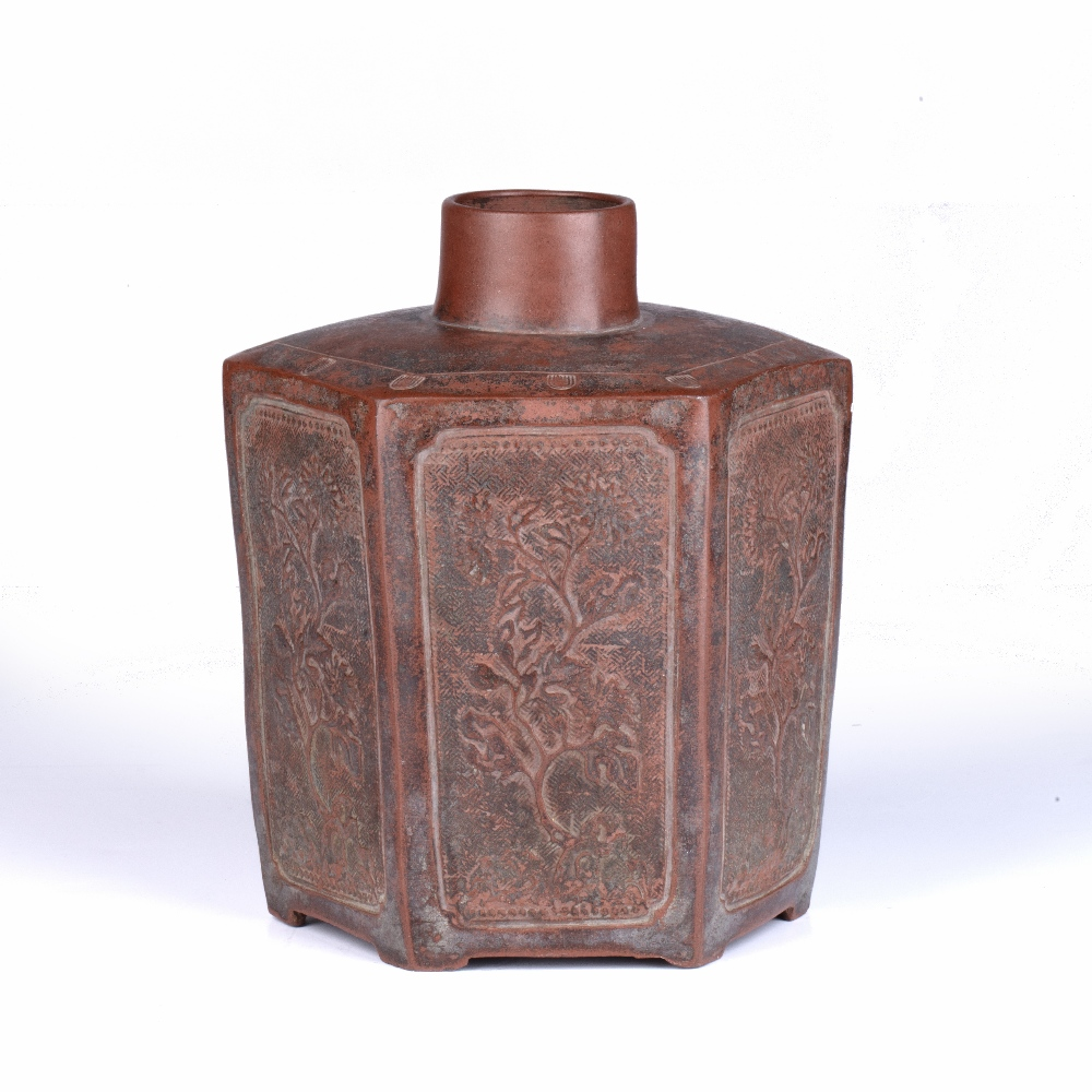 Yixing tea caddy Chinese of hexagon form, with each side modelled in relief with flowering tree