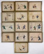 Collection of Chinese pith paintings of various scenes, all unsigned, each measures 16cm x 23cm (