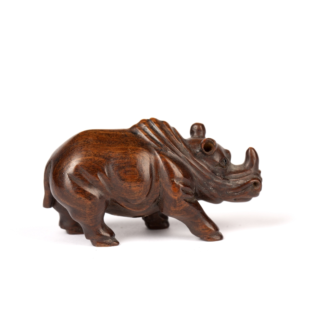 Contemporary wooden netsuke Japanese depicting a standing rhino, signed Meizan, 6cm across - Image 2 of 3
