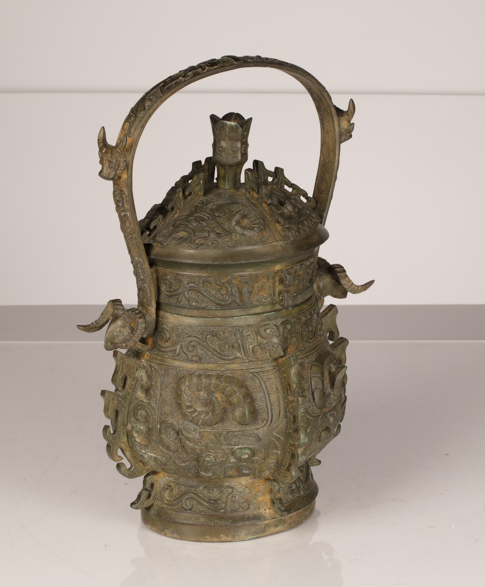 Bronze Shang dynasty style vessel (you) Chinese with loop handle and cover, 33cm high Ex Desmond - Image 3 of 4