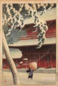Kawase Hasui (1883-1957) 'Shiba Zojoji (Zojoji Temple, Shiba)', Japanese woodblock, signed Hasui and