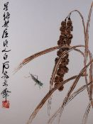 After Qi Baishi (1864-1957) pair of woodcuts, bulrushes and crickets, inscribed, stamp and seal of