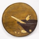 Round wooden plaque Japanese, 20th Century depicting a woven basket in lacquer, with fish and