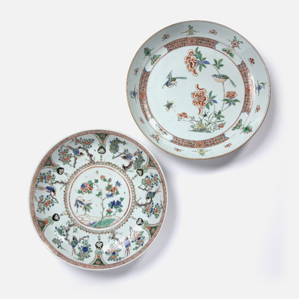 Two famille verte chargers Chinese, Kangxi both with bird and foliate enamelled decoration, 36cm and