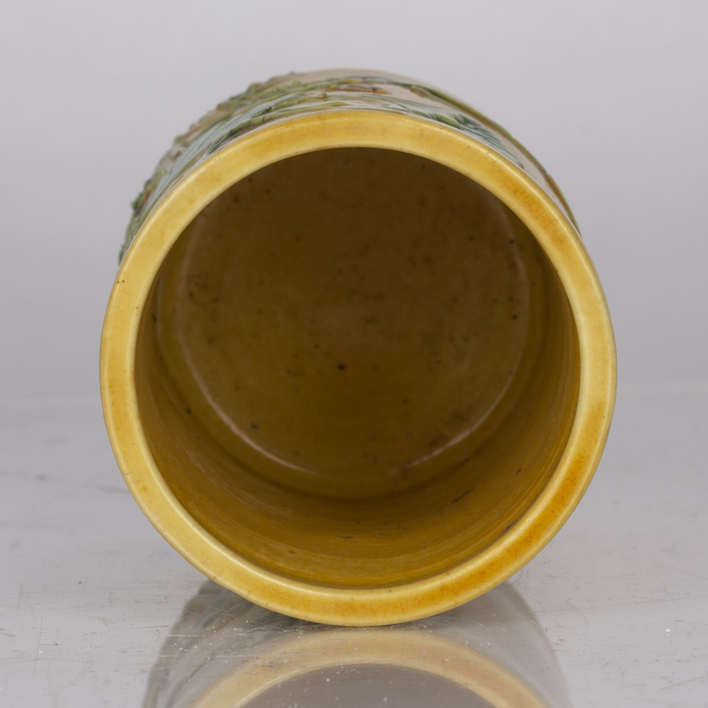 Yellow glazed brushpot Chinese, 19th Century the exterior with moulded decoration depicting - Image 4 of 4