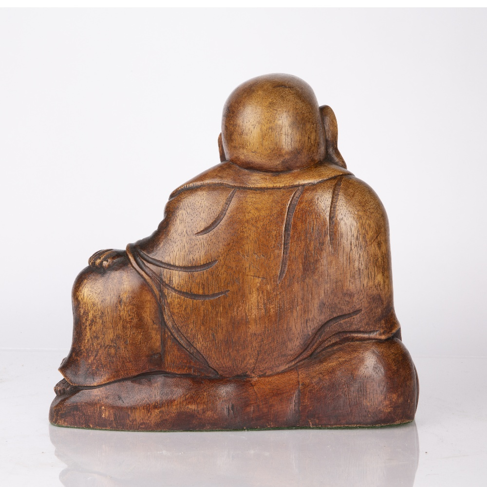 Wooden figure of Maitreya Chinese, early 20th Century dressed in traditional robes, with one hand - Image 2 of 2