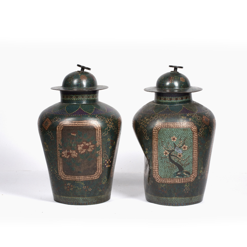 Pair of green square section cloisonne vases Japanese each with foliate designs, 48cm high
