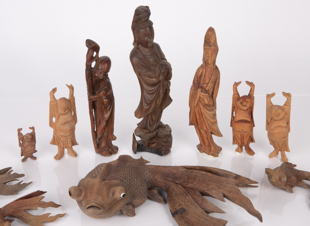 Group of carved wood pieces Chinese and South East Asian including various model fish, Guanyin and - Image 2 of 5
