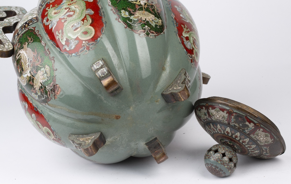 Large cloisonne enamel vase and cover Japanese, late 19th Century with multi-coloured panels of - Image 4 of 4