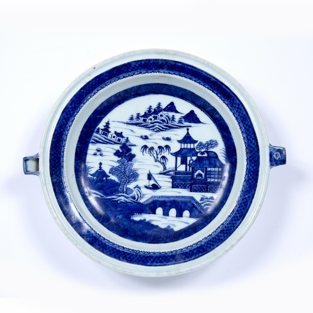 Blue and white porcelain plate warmer Chinese, 19th Century decorated to the centre with a river