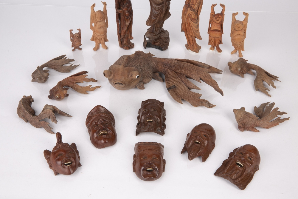 Group of carved wood pieces Chinese and South East Asian including various model fish, Guanyin and - Image 3 of 5