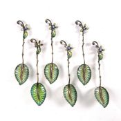 Set of six plique-a-jour enamel spoons Chinese the bowls shaped as an open leaf, the handles with