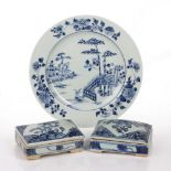 Blue and white porcelain plate Chinese, early 19th Century 22cm, and two epitaph boxes, largest 11cm