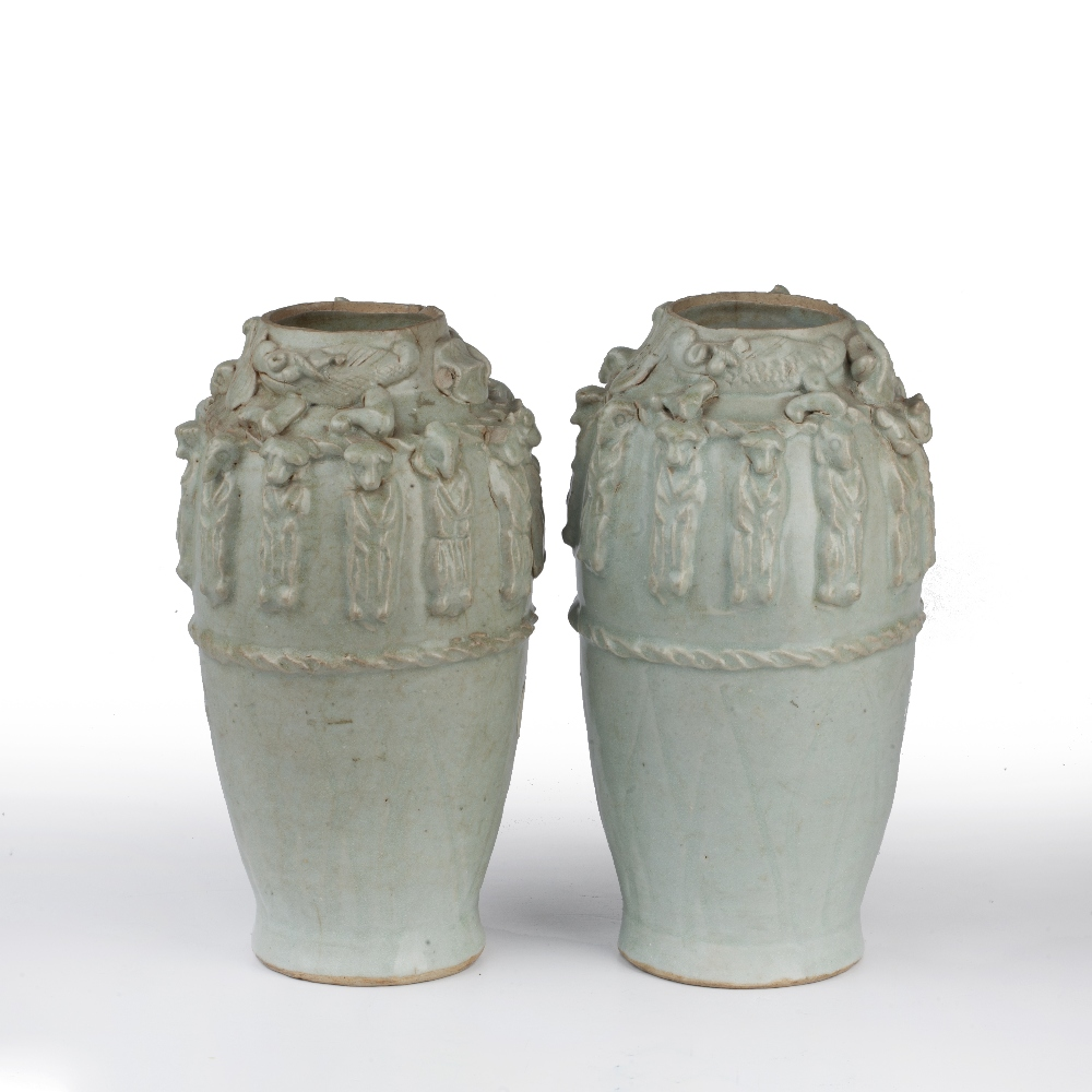 Pair of Yueyao-style funerary vases Chinese, Song dynasty with moulded decoration to the neck