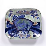 Celadon glazed dish Japanese decorated to the centre with bamboo and brightly coloured flowers, 27.