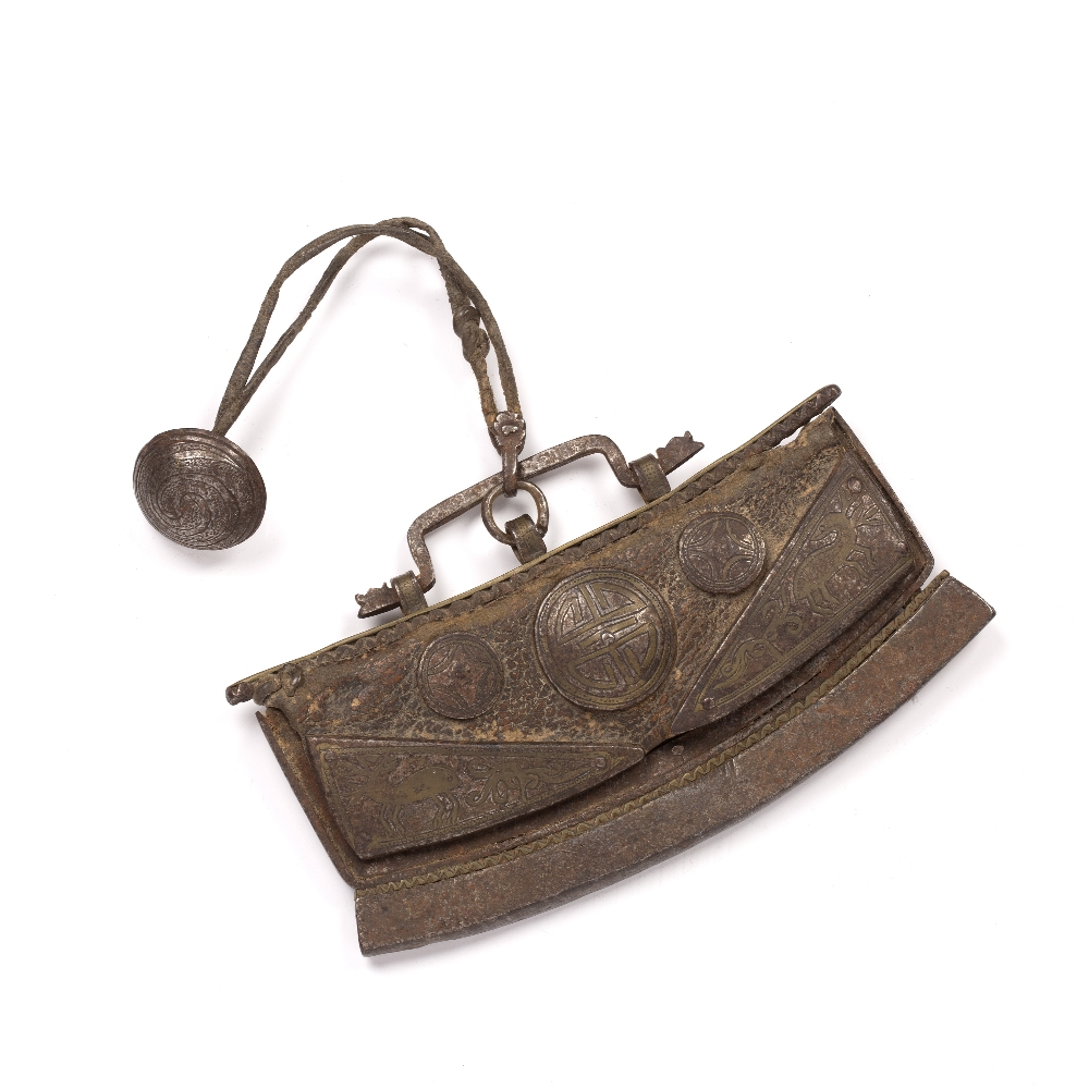 Metal and leather purse Afghan / Islamic of curved form and with engraved mounts and roundels,