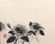 Takumasa Ono (b.1959) 'Camellia' ink on paper, 36cm x 45cm and one other untitled ink on paper, 36cm