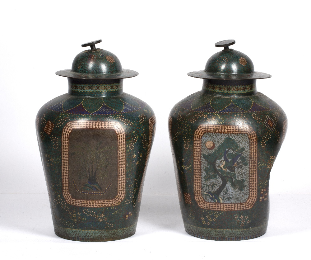 Pair of green square section cloisonne vases Japanese each with foliate designs, 48cm high - Image 2 of 4