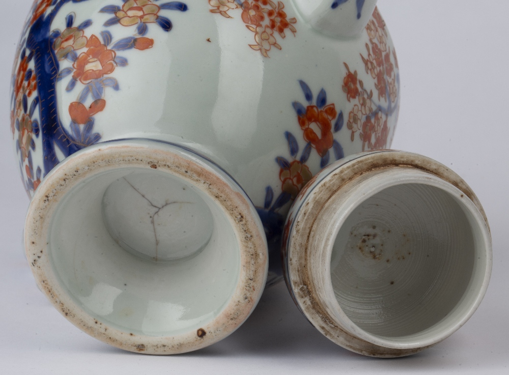 Imari teapot Japanese, 19th Century of ovoid form, painted with blossom and birds, 23cm high - Image 3 of 4