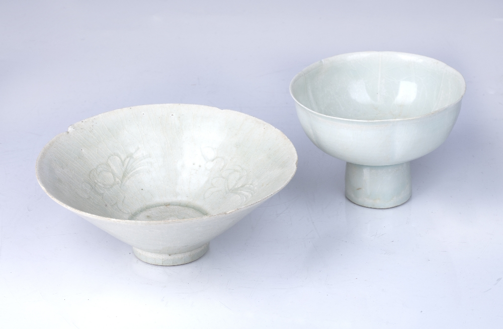 Two Qingbai porcelain wear Chinese, probably Yuan comprising of a conical shaped bowl decorated with