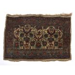Prayer mat Persian with foliate designs, on an ivory ground, 83cm x 57cm Condition: overall wear,