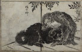 Japanese woodblock 'Macaque scene' signed to the margin, 20.5cm x 32cm Condition: Some creasing