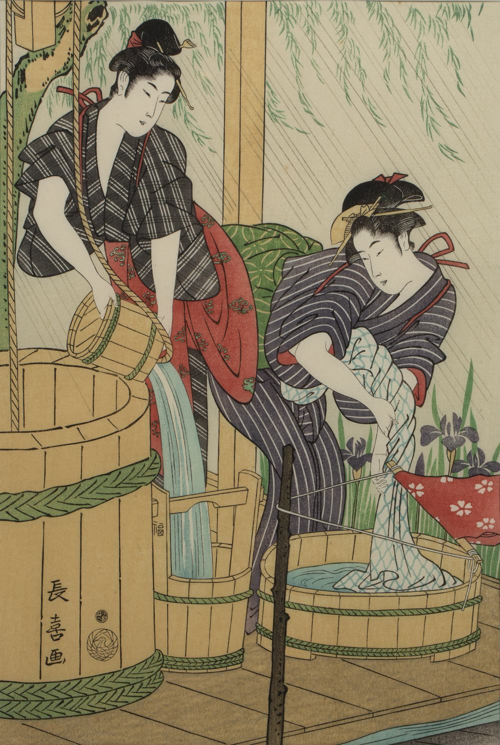 20th Century Japanese 'Two washer women' woodblock print, marked with seals lower left, 36cm x 24.