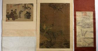 Five scrolls Chinese after the originals, including copies of Chou Ying and others (5) Condition: at