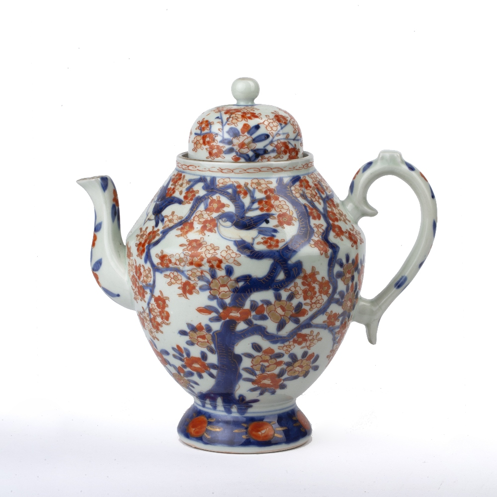 Imari teapot Japanese, 19th Century of ovoid form, painted with blossom and birds, 23cm high