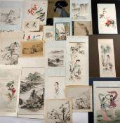 Katherine Talati (1922-2015) Da Shunming portfolio of nineteen sheets by Katherine Talati, ink and